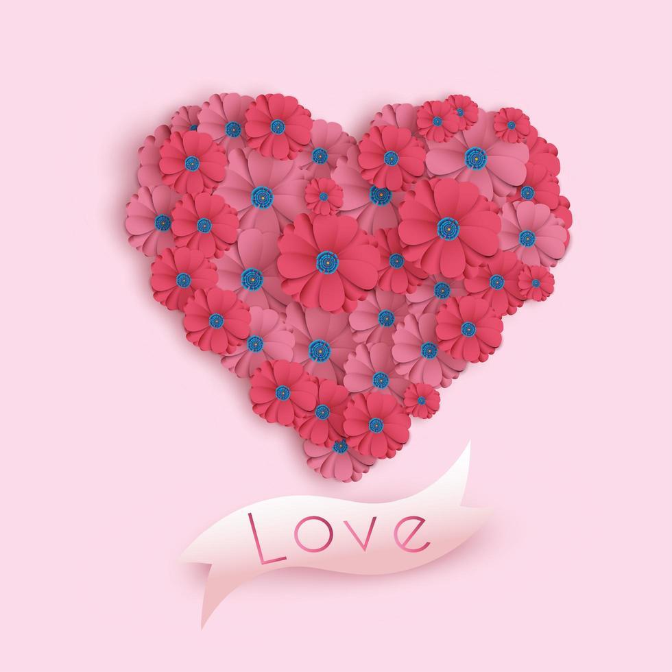 Paper Art Valentine's Day-kort med blommor i hjärtaform vektor