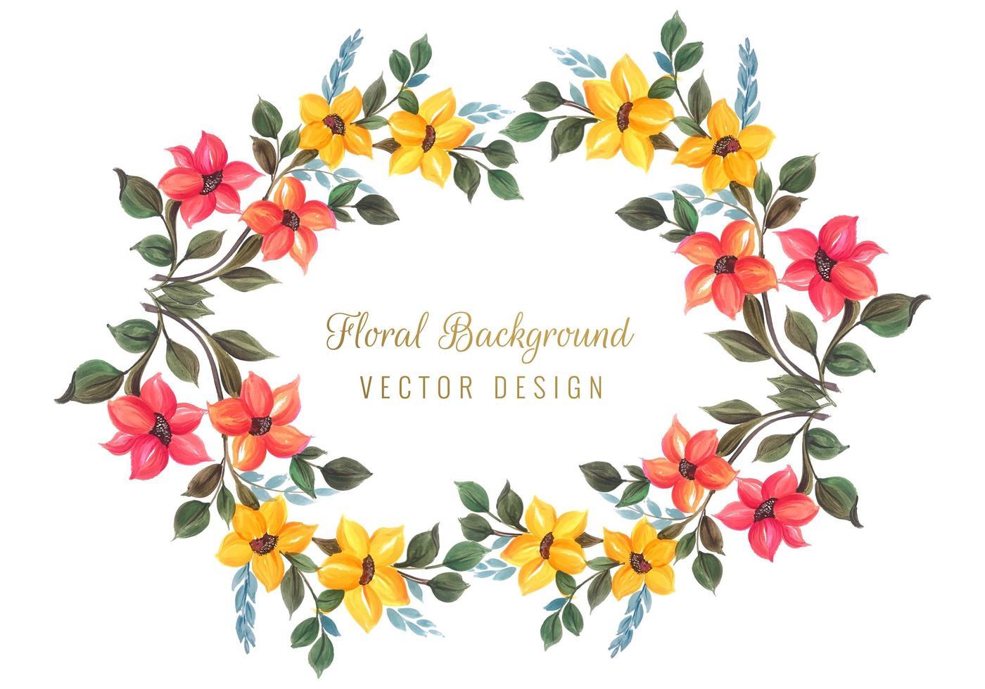 Dekorativ färgglad blommig ramdesign vektor
