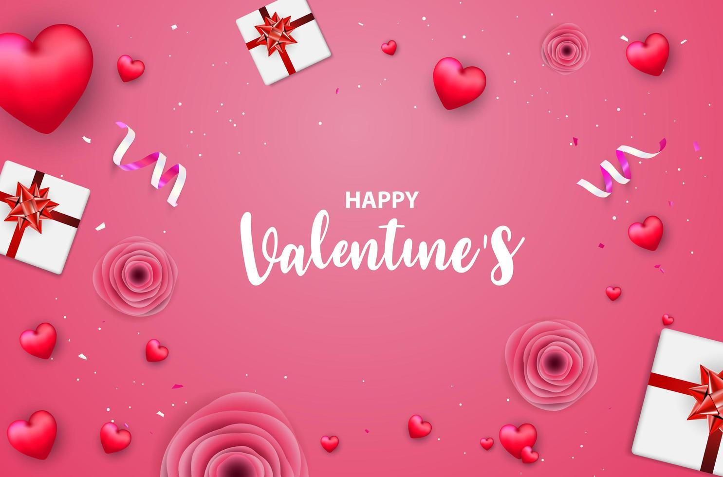 Rosa Valentinstagfahne mit roten Herzen, Rosen, Geschenkboxen und Konfettis vektor