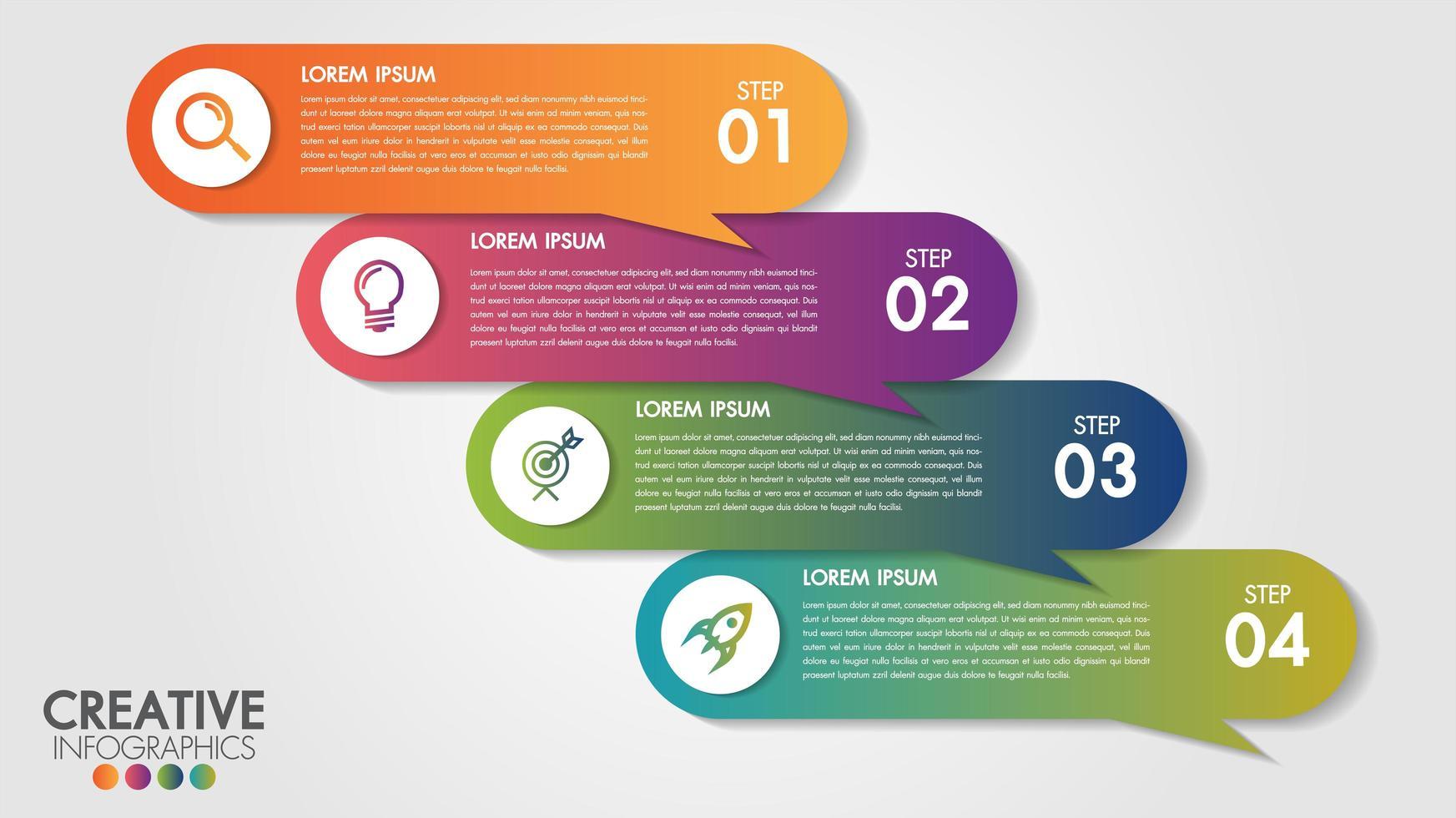 Infographics mall 4 steg affärsdesign banner vektor
