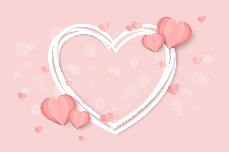 Alla hjärtans dag rosa med vit hjärta ram och hjärta former vektor