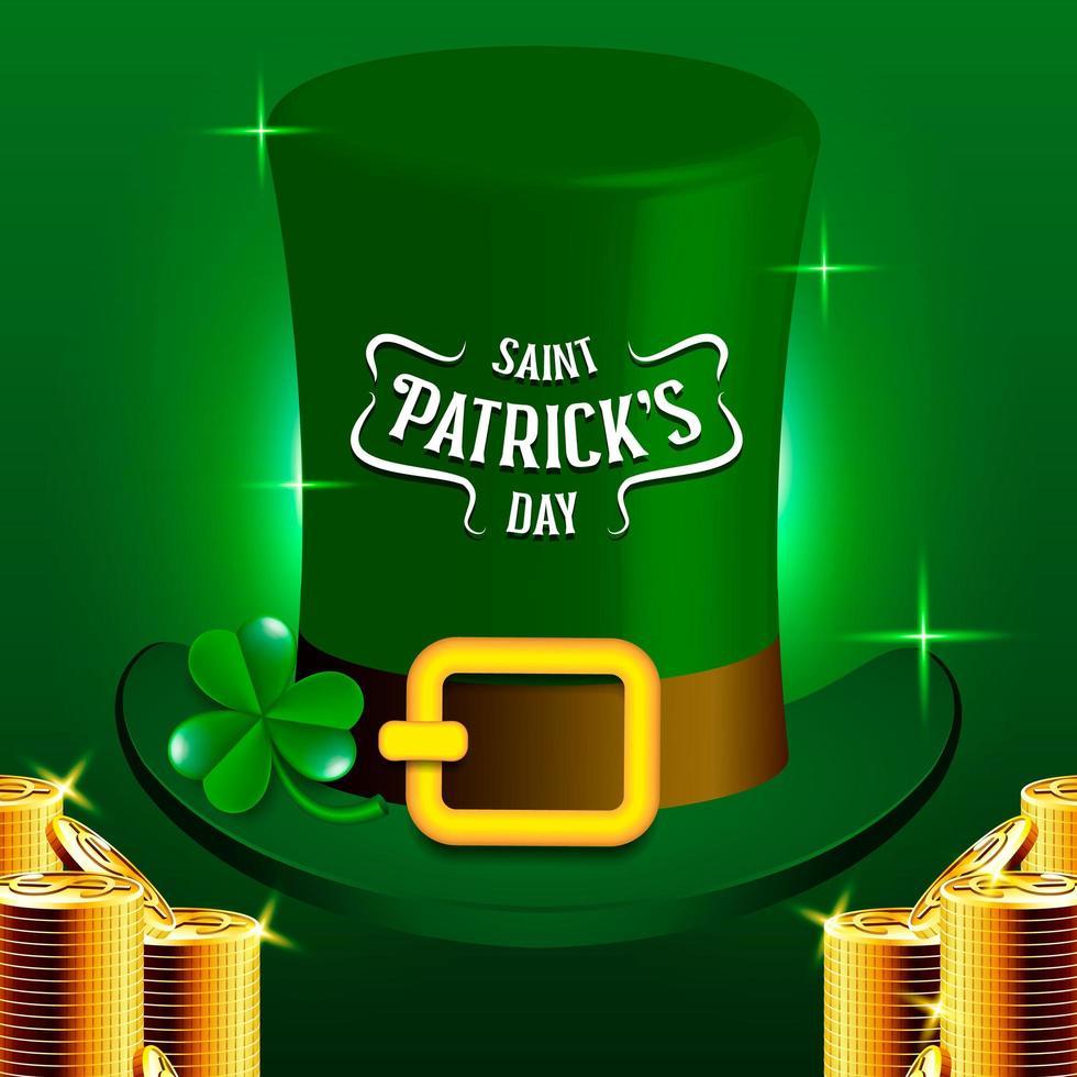 Saint Patrick's Day Leprechauns hatt och bunt med gyllene mynt vektor