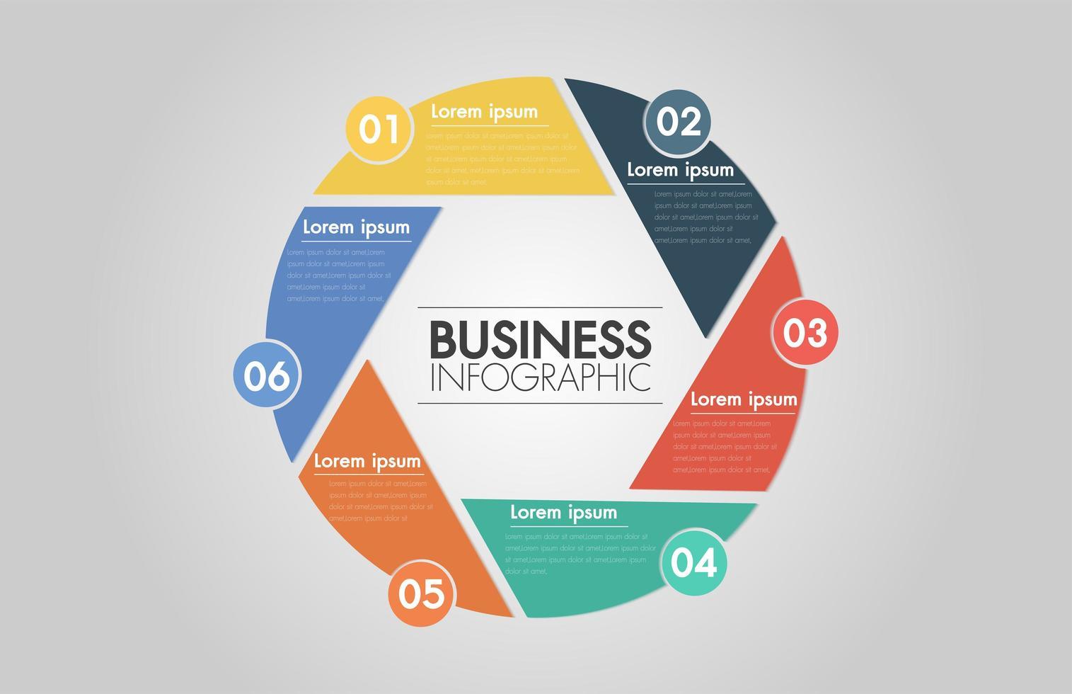 6 steg cirkel pil infographic. Mall för cykeldiagram, diagram vektor