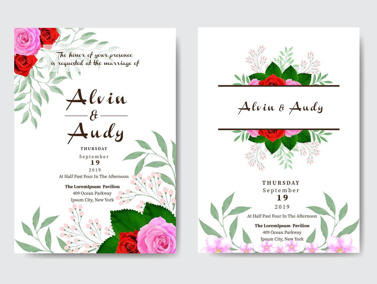 akvarell ros gräns bröllop inbjudningskort vektor