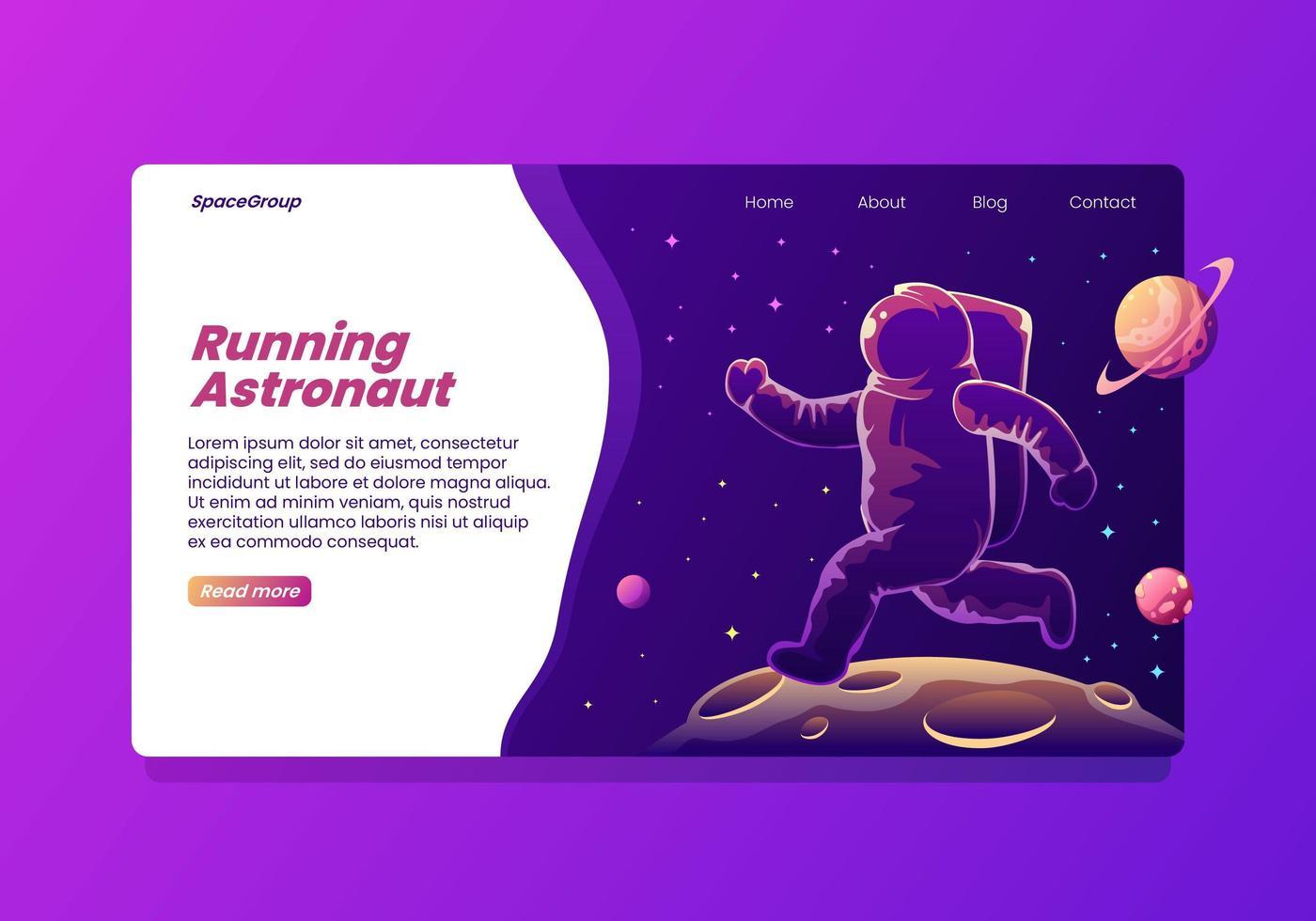 Kör Astronaut Landing Page vektor