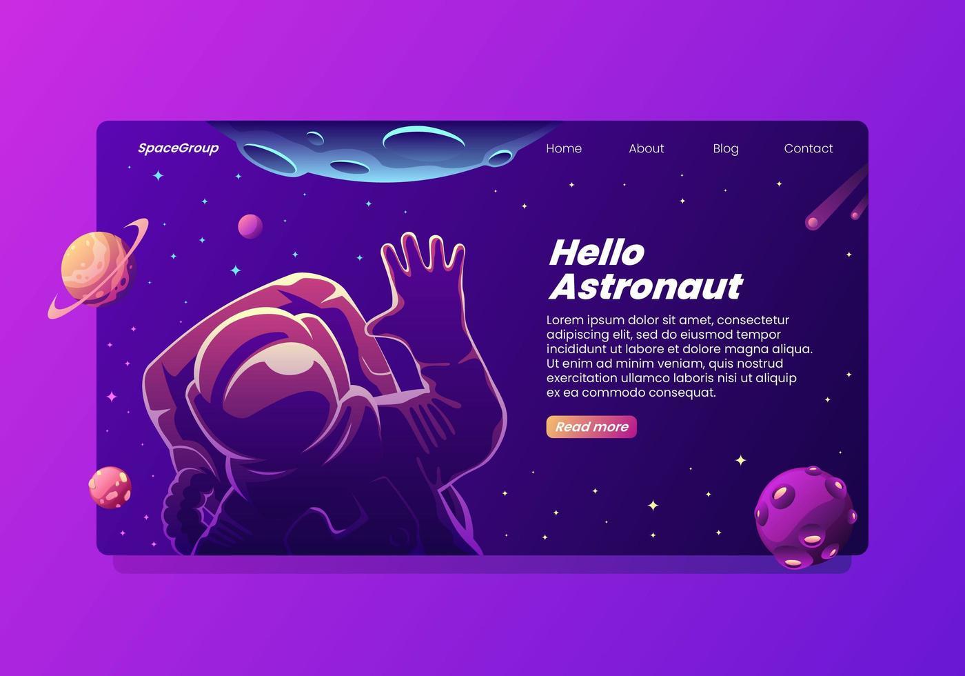 Hej vinkande målsida för astronaut vektor