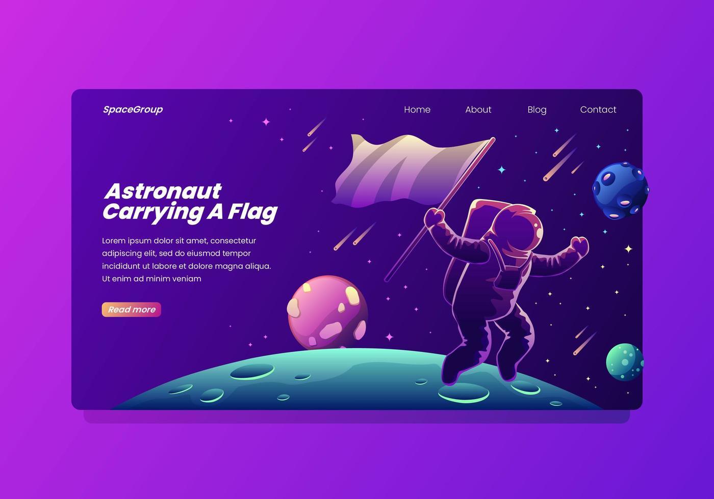 astronaut som bär en landningssida för flagga vektor