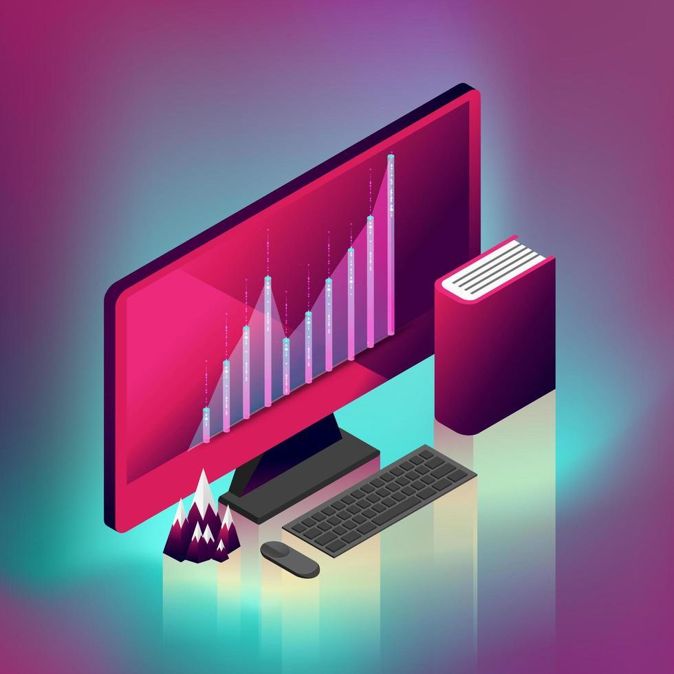 Fluktuerad grafisk modern stationär dator vektor