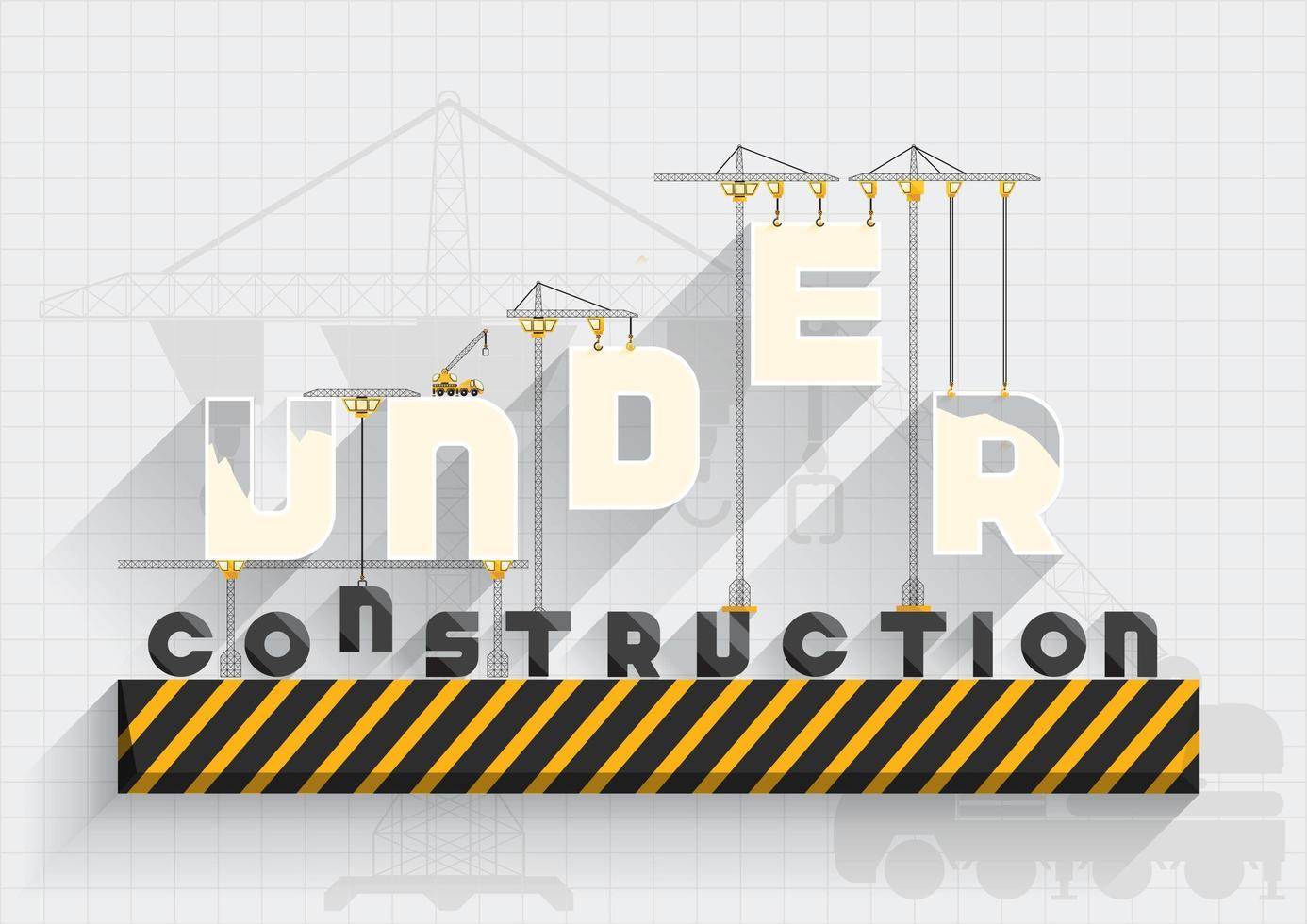 Under konstruktion platt design med text hängande från kranar vektor