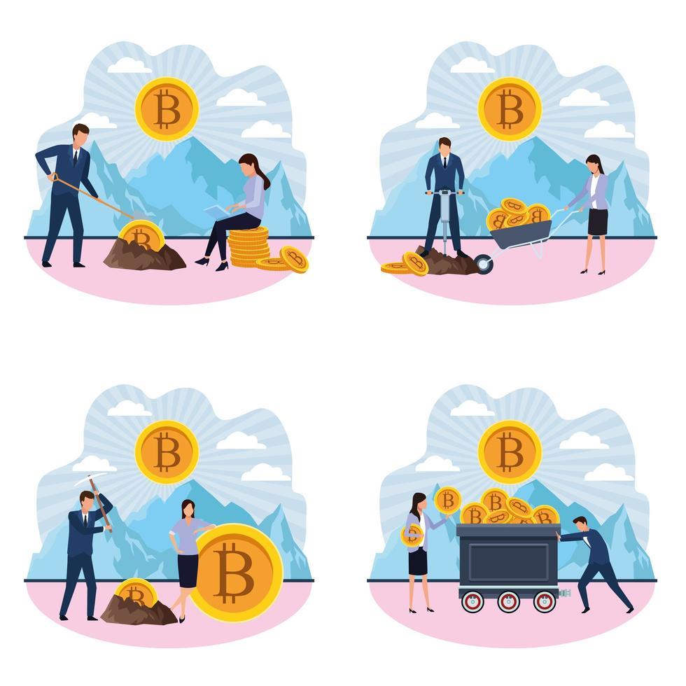 Uppsättning av digital gruvdrift bitcoin-design vektor