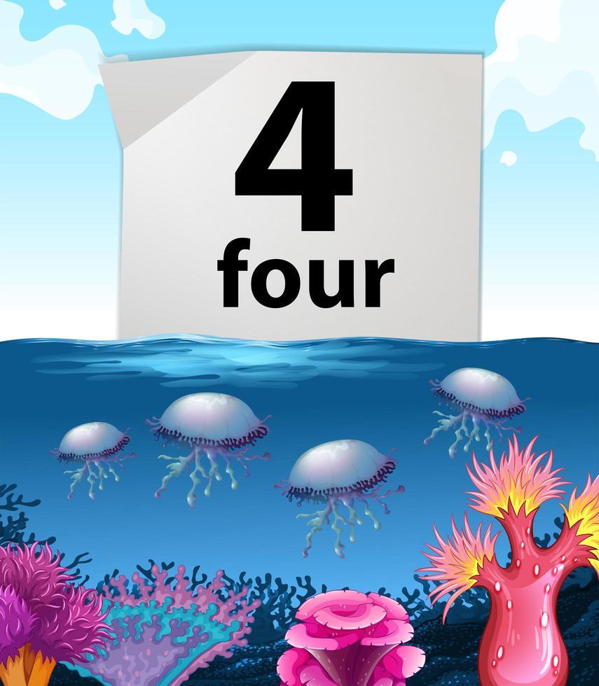 Nummer vier und Quallen unter Wasser vektor