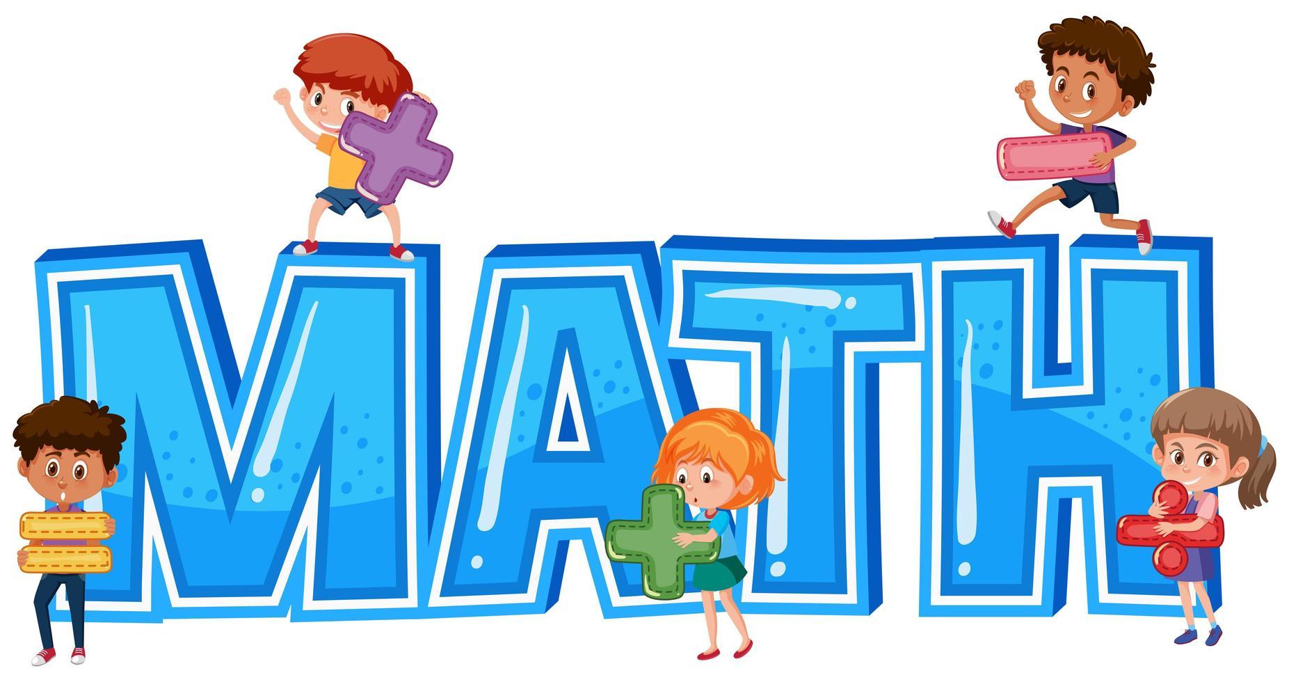 Matematikord med barn vektor