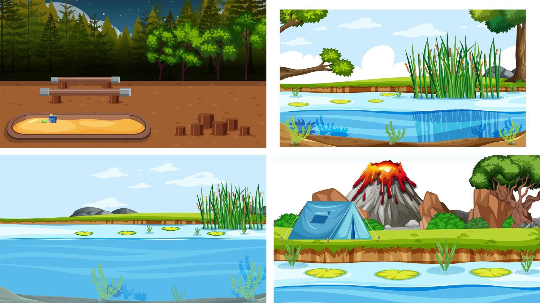 Reihe von Szenen in der Natur mit Camping vektor