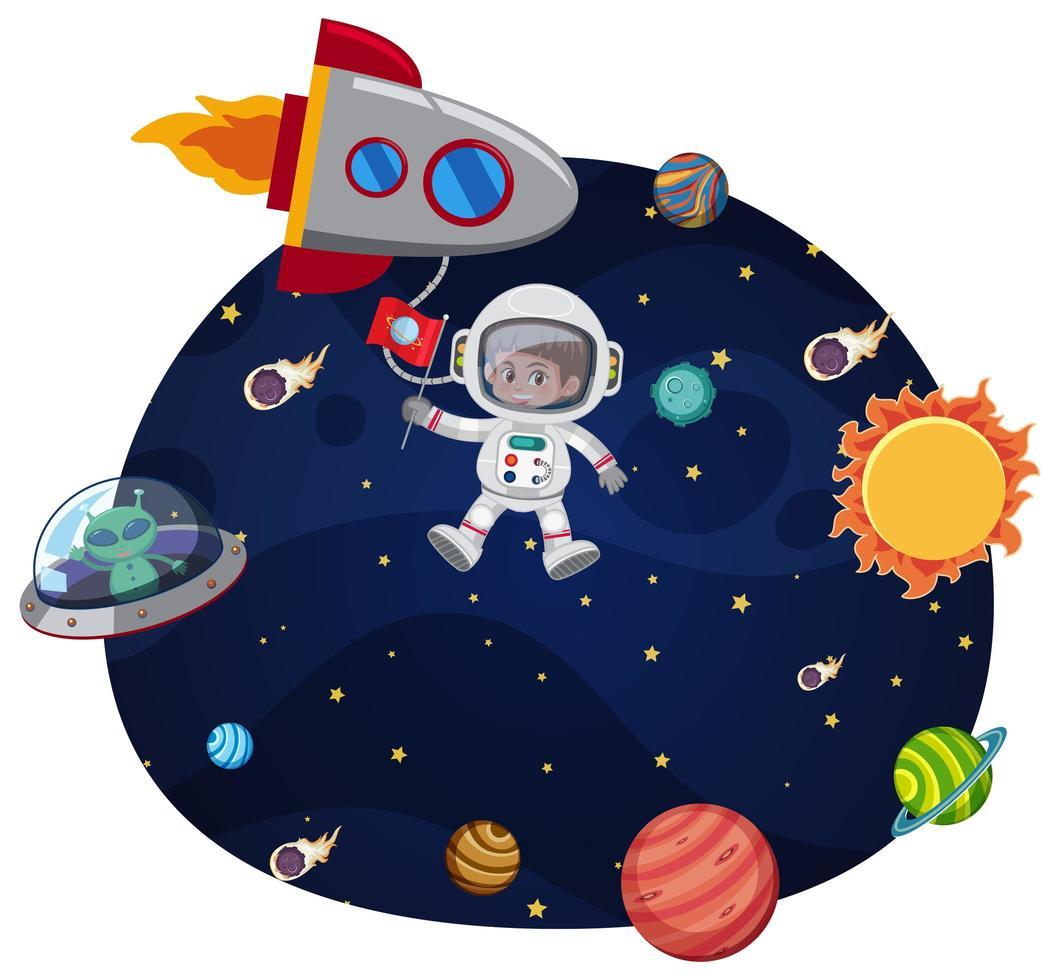 En astronaut i rymdmall vektor