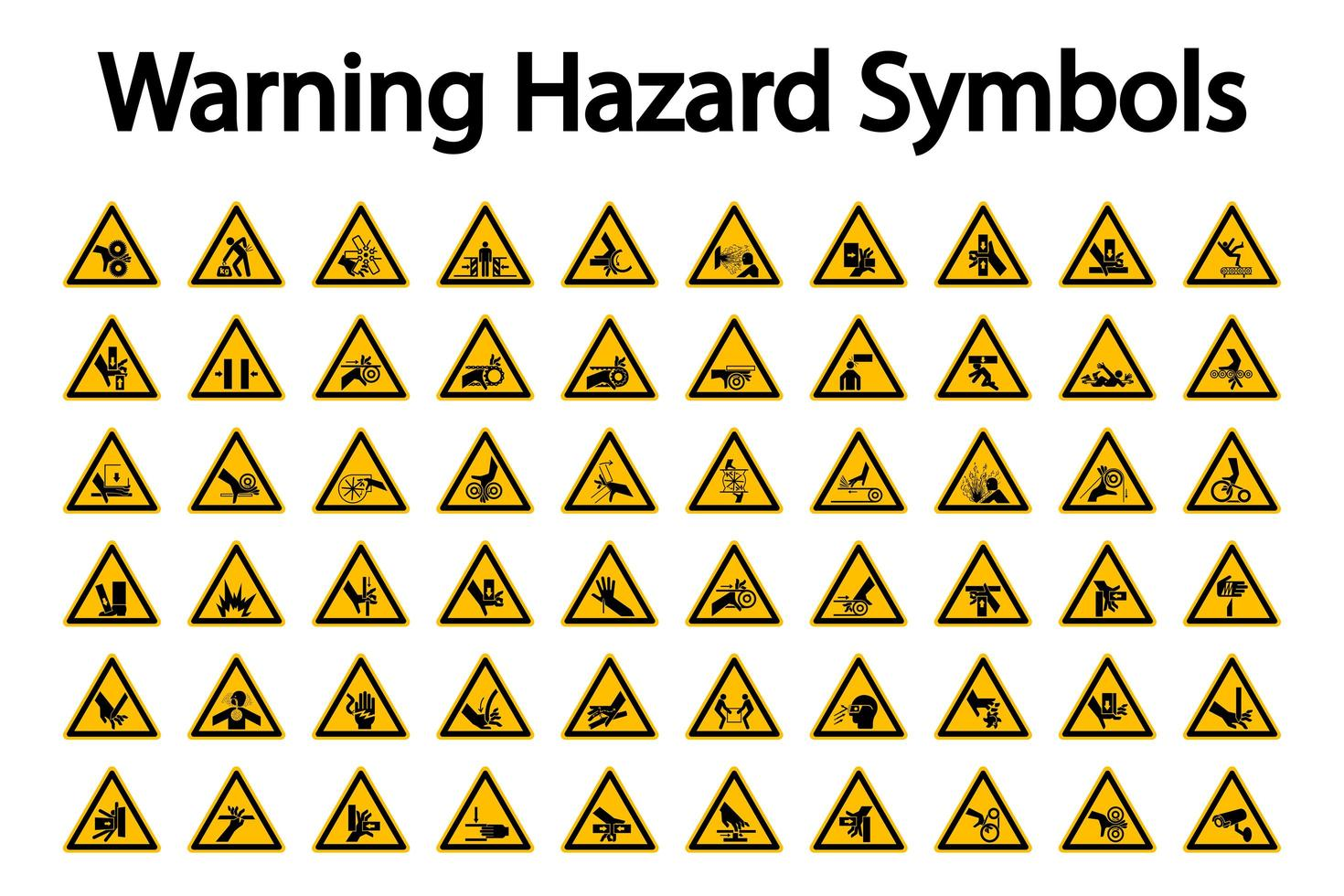 Dreieckige Warnung Hazard Sign Set vektor