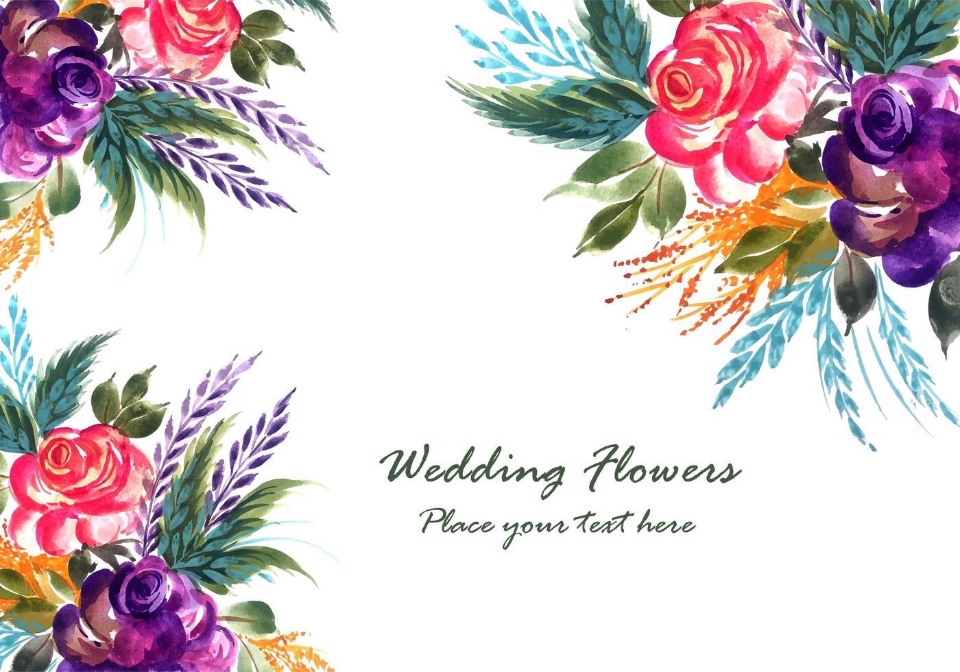 Romantische Hochzeit blüht Kartenhintergrund vektor