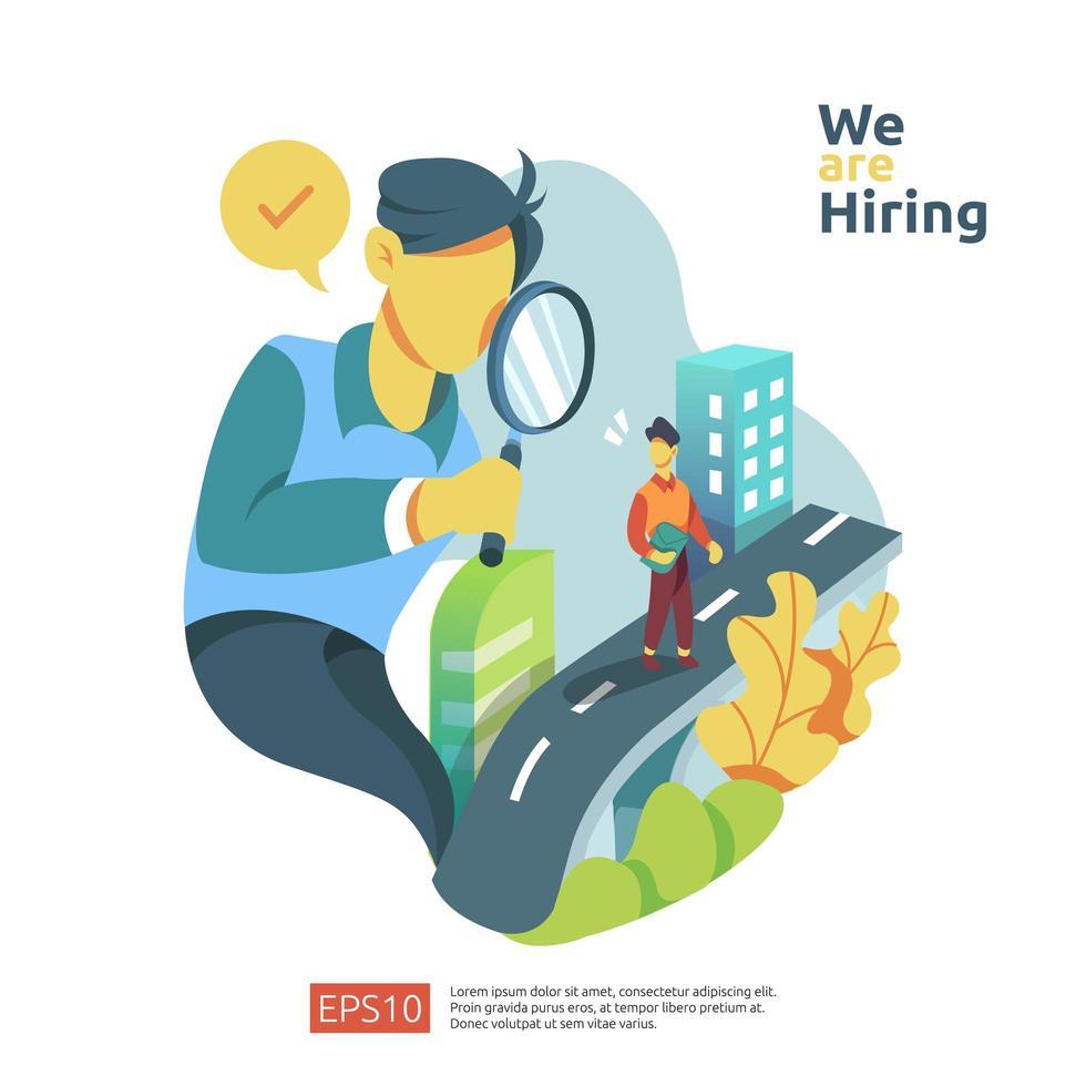 Online-Rekrutierung und Job-Einstellungskonzept vektor