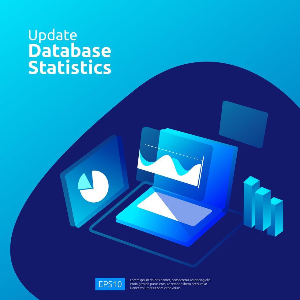 Aktualisieren Sie das Datenbankstatistikkonzept vektor