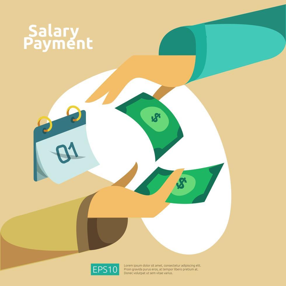 Gehaltszahlung und Gehaltsabrechnung Konzept vektor