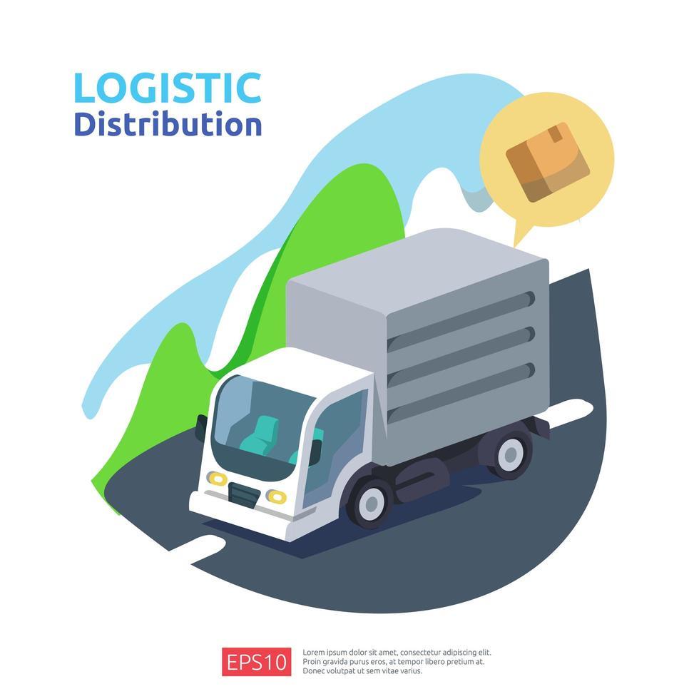 logistische Distribution Cargo Service-Konzept vektor