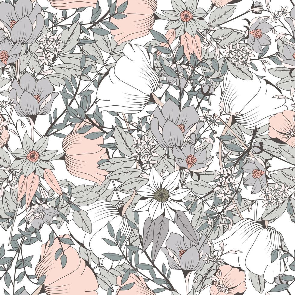 Sömlös handritad botanisk mönster vektor