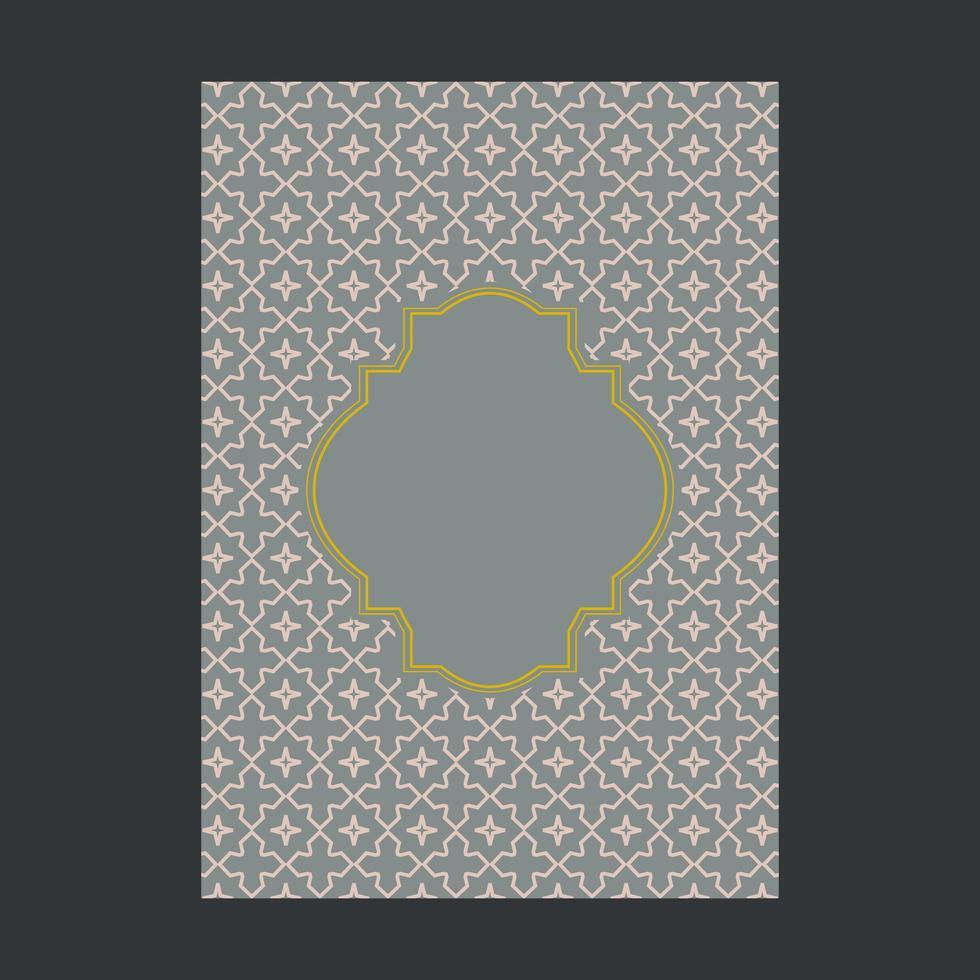 Grått omslag med guld dekorativt mönster och ram vektor