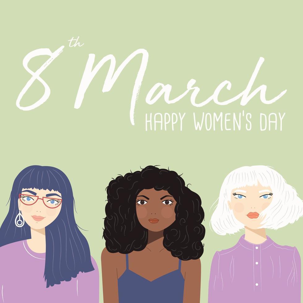 Internationell kvinnodagstecken med porträtt av tre olika kvinnor vektor