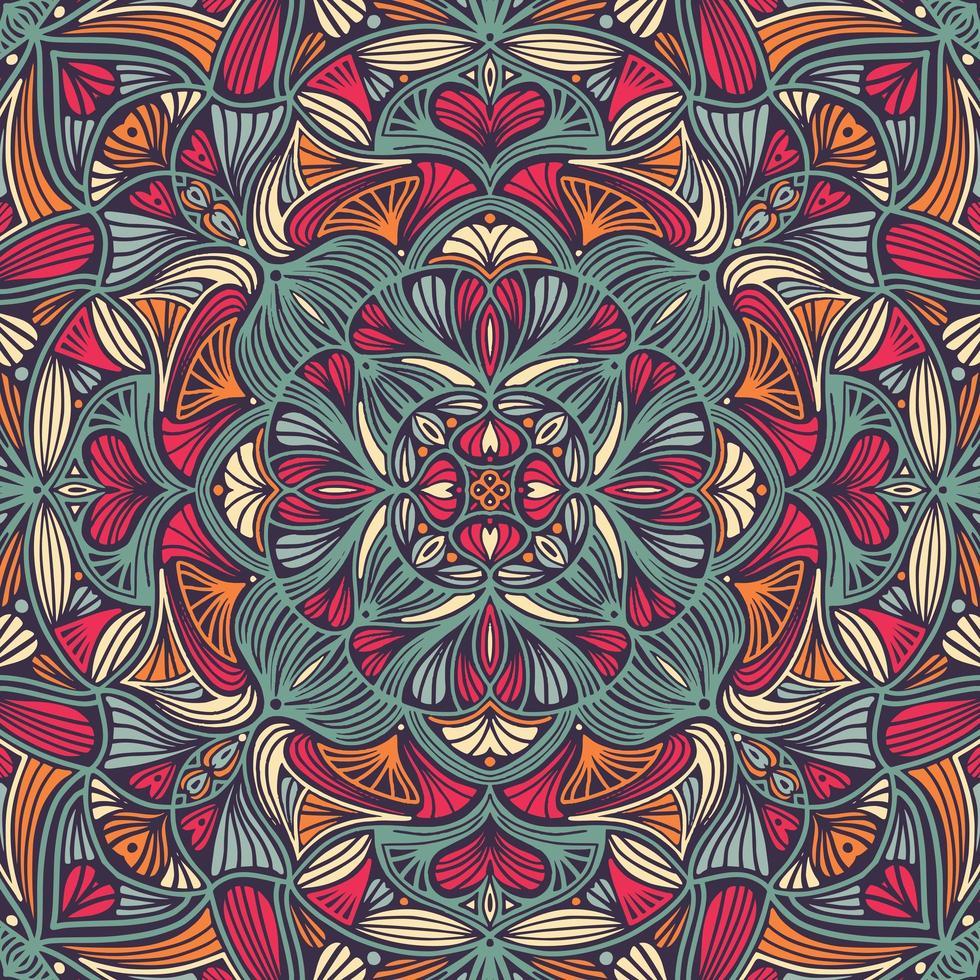 Ethnische mit Blumenmandala des bunten dekorativen vektor