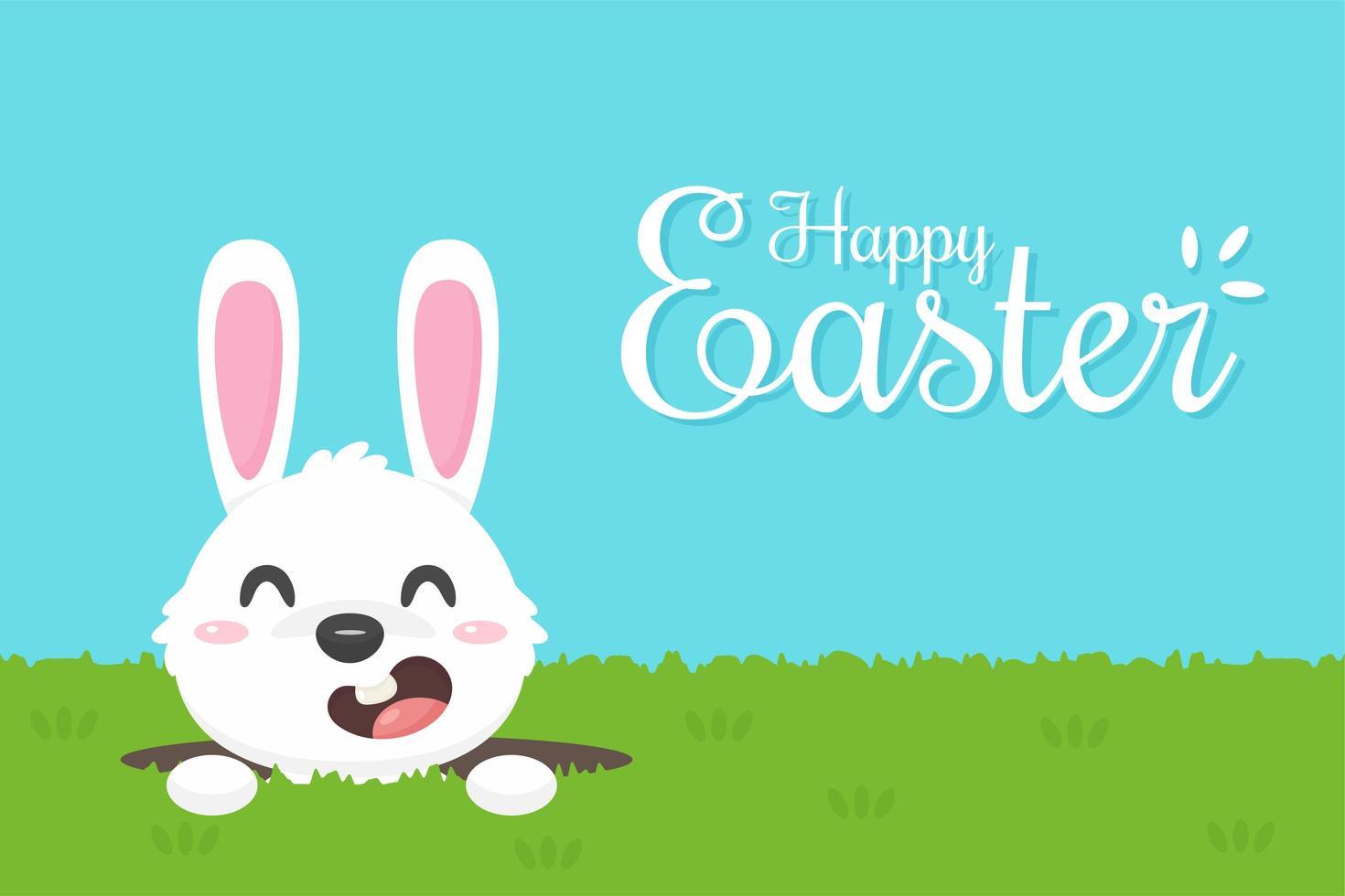 Glücklicher Ostern-Gruß mit Karikaturkaninchen vektor