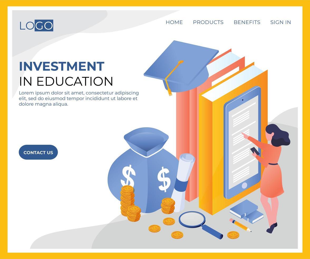 Investition in isometrisches Bildungsdesign vektor