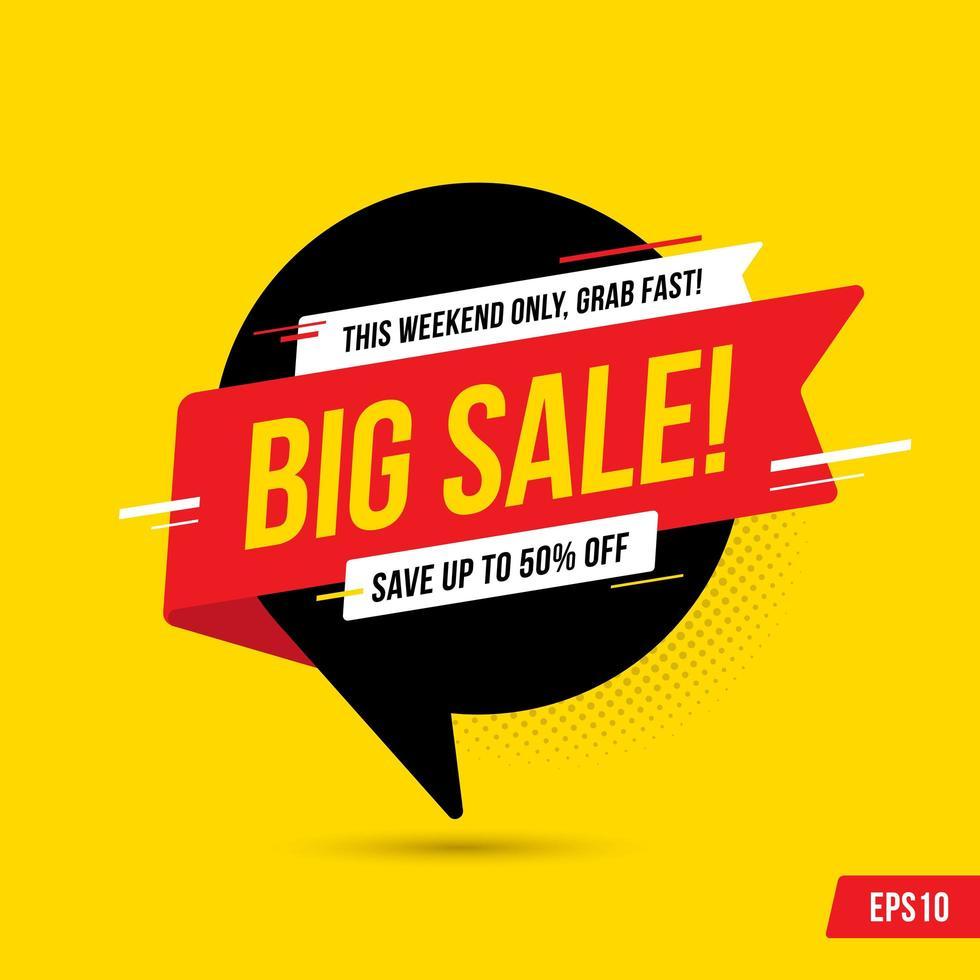 Stor försäljning banner mall med pratbubblan vektor