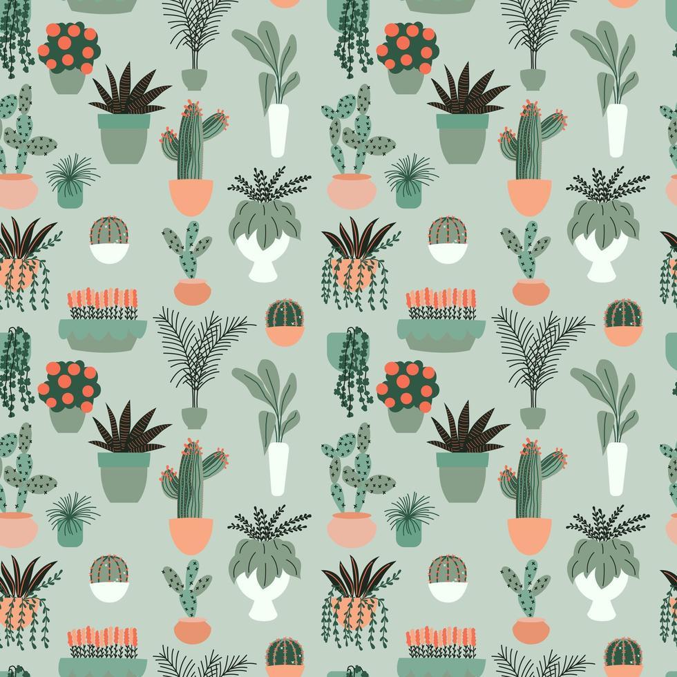 Seamless mönster med samling av handritade inomhushusväxter. Samling av krukväxter. Färgglad platt vektorillustration vektor