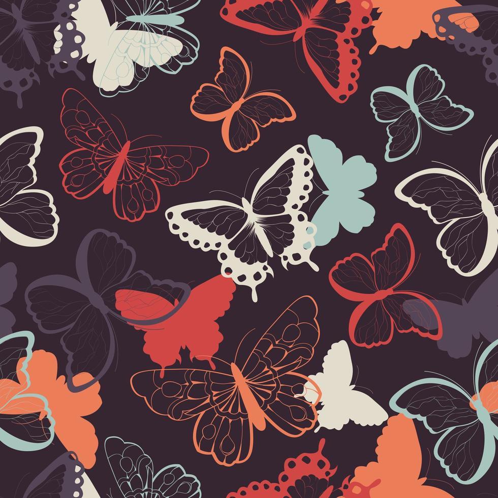 Seamless mönster med handritade färgglada fjärilar vektor