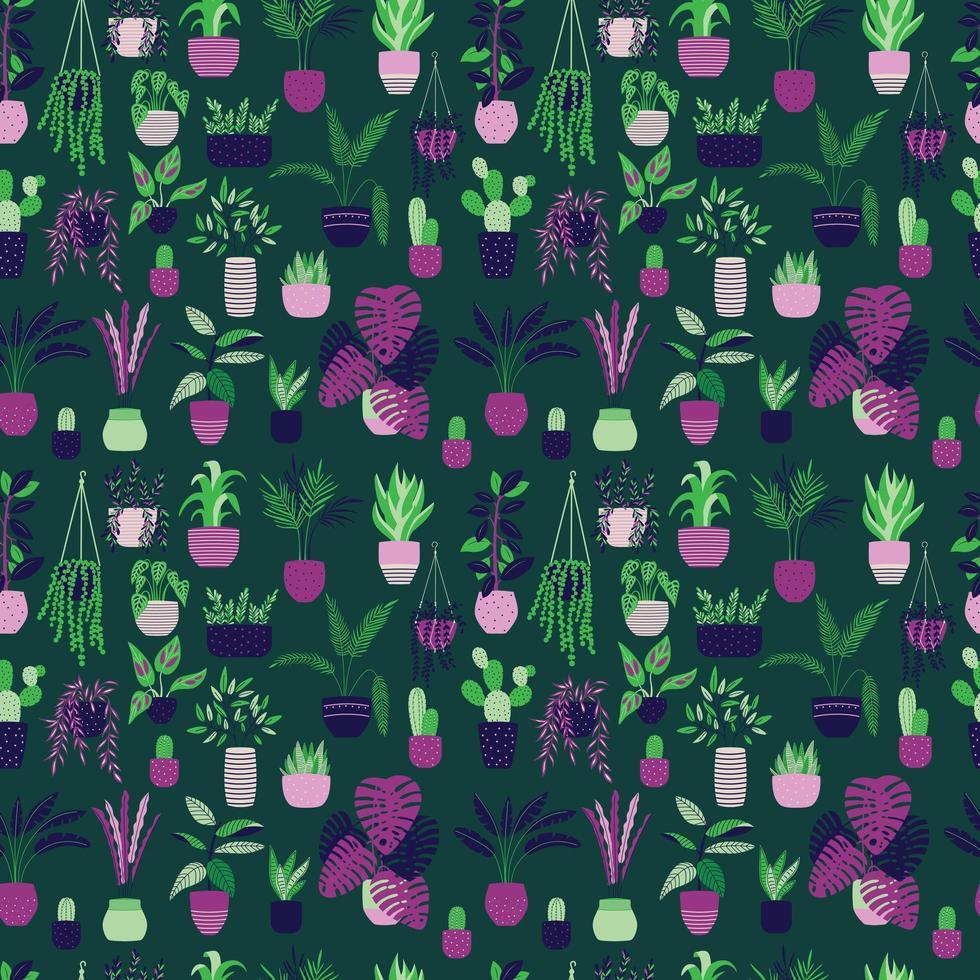 Nahtloses Muster mit Sammlung der Hand gezeichneten Innenhauspflanze vektor