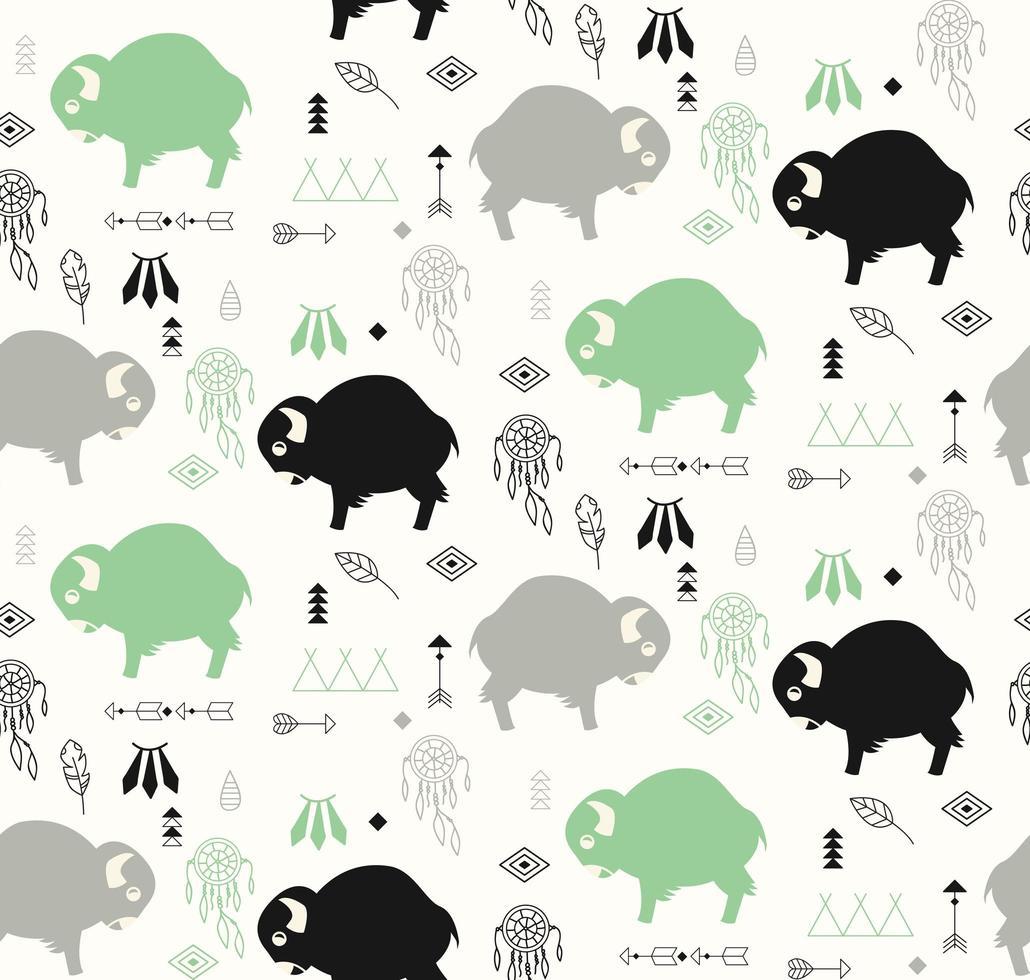 Seamless mönster med bufflar och infödda amerikanska symboler vektor