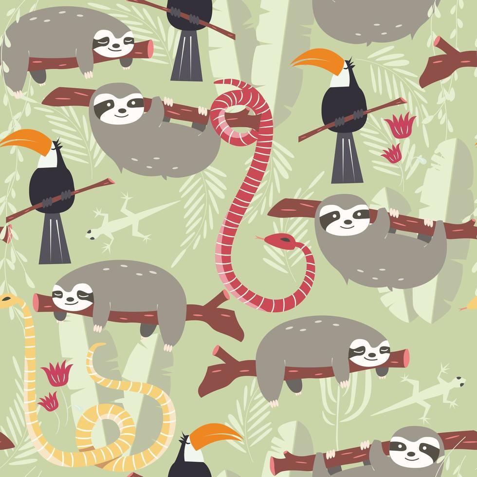Seamless mönster med regnskogsdjur, tukan, orm, dovendyr vektor