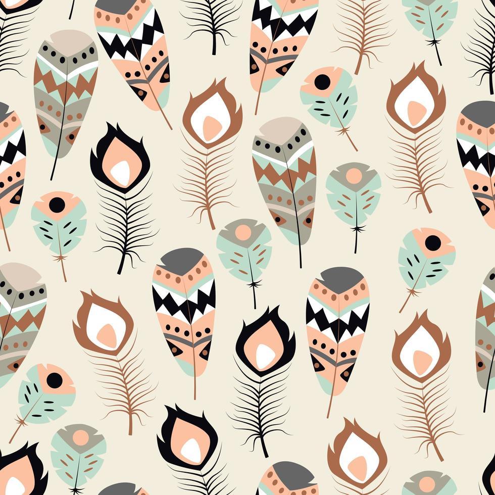 Seamless mönster med färgglada fjädrar i boho-stammar vektor