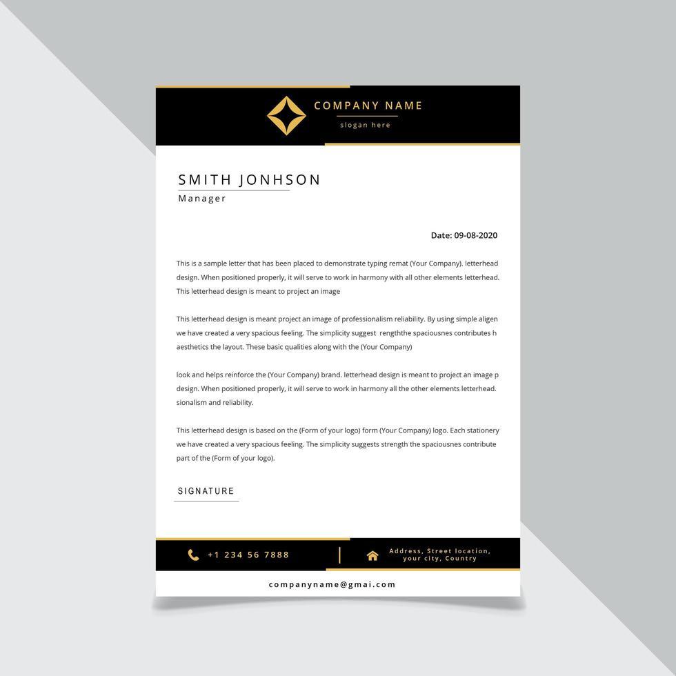 Svart och guld brevhuvudmall vektor