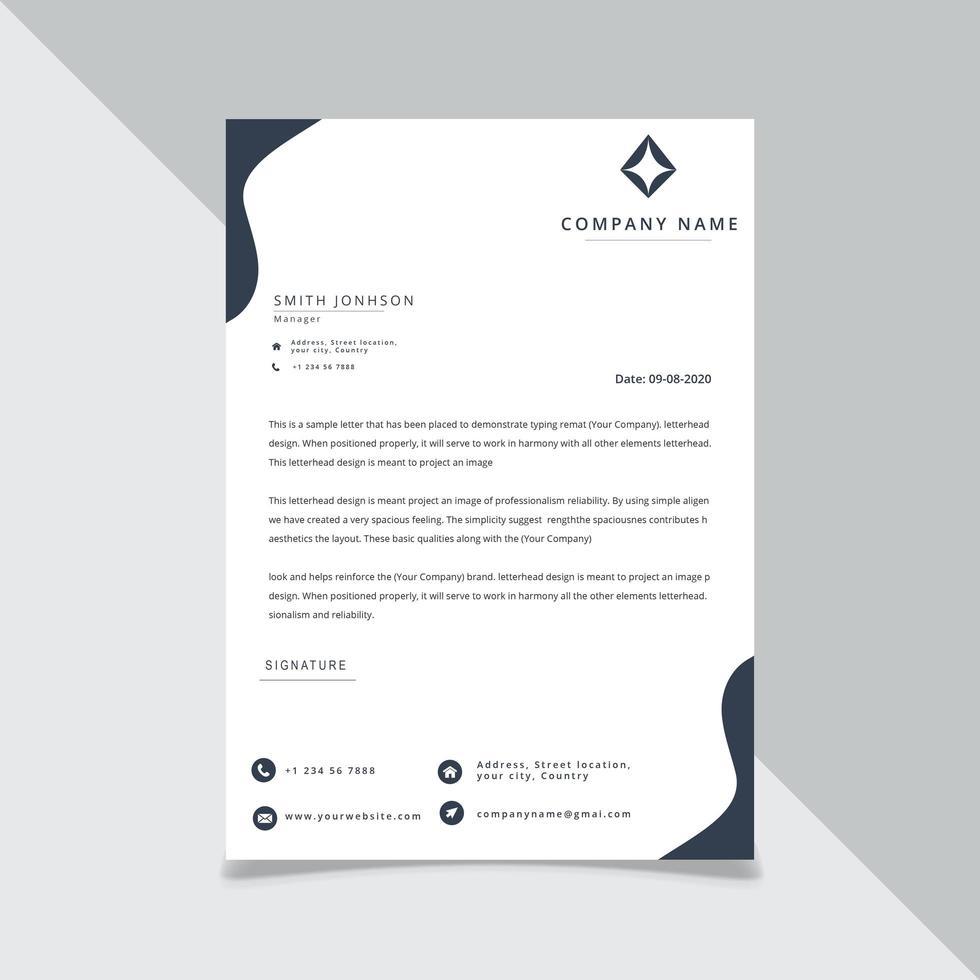 Blå och vit vågig design brevhuvudmall vektor