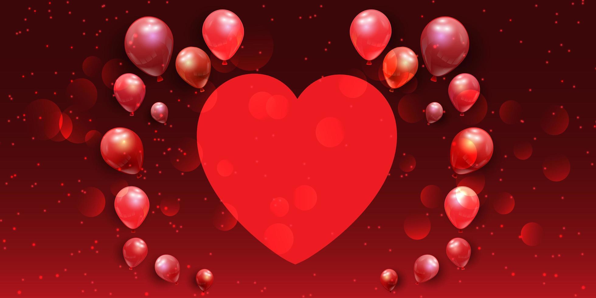Alla hjärtans dag banner med hjärta och ballonger vektor