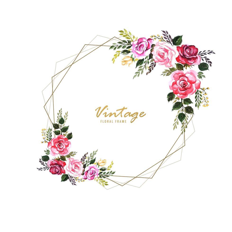 Dekorativ blom- ram för tappning med bröllopskortsdesign vektor