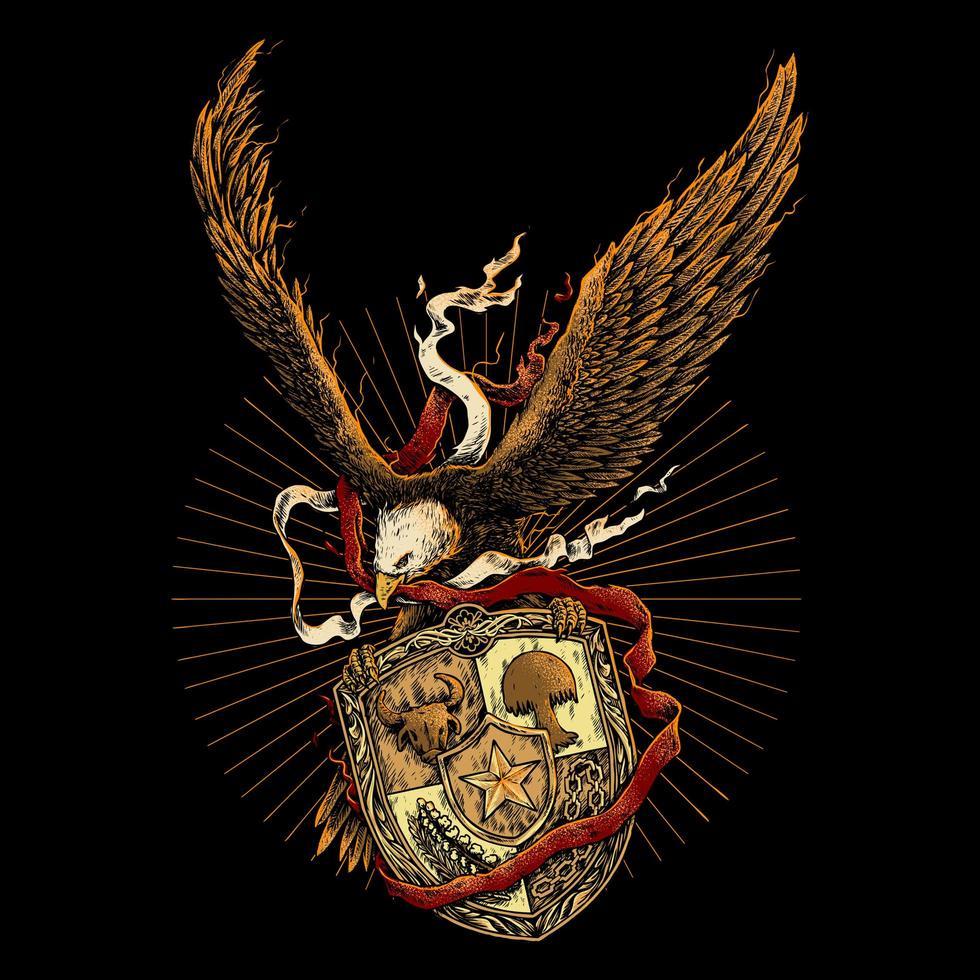 örn med rött och vitt band och emblem vektor
