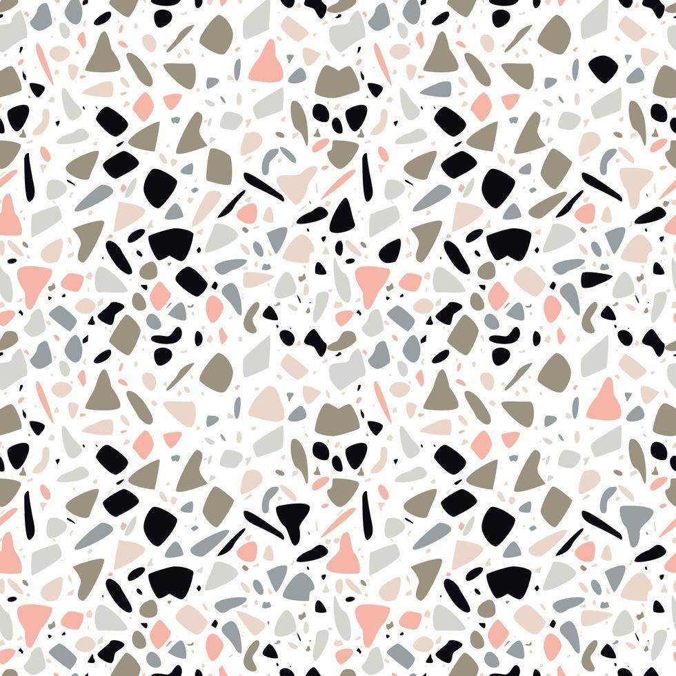 Terrazzo sömlös mönsterdesign med handritade stenar vektor