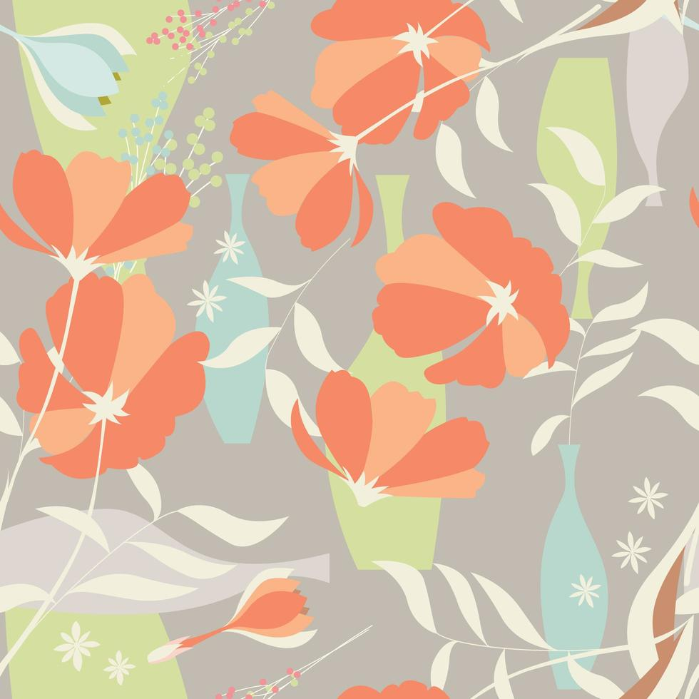 Seamless mönster med blommig element vektor