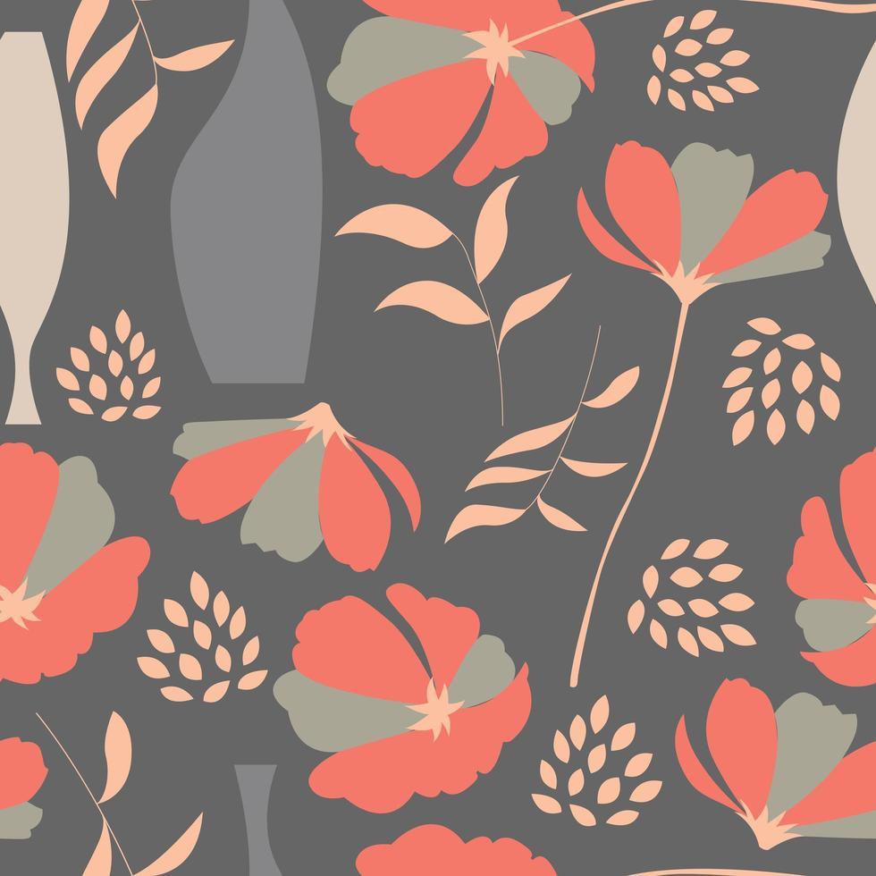 Seamless mönster med blommig element på grått vektor