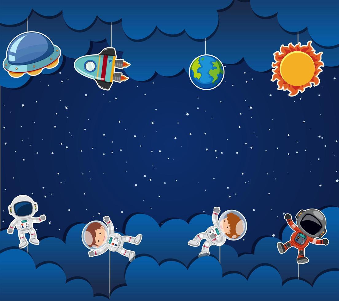 Astronaut auf Raumschablone vektor