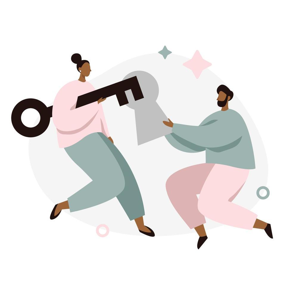 Två personer som arbetar tillsammans för att öppna nya lösningar vektor
