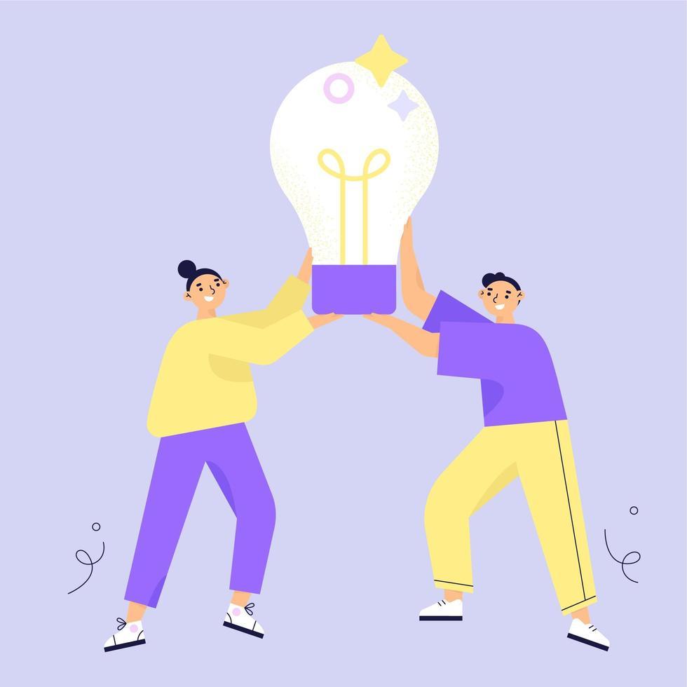 Zwei Charaktere, die große Glühlampe halten vektor