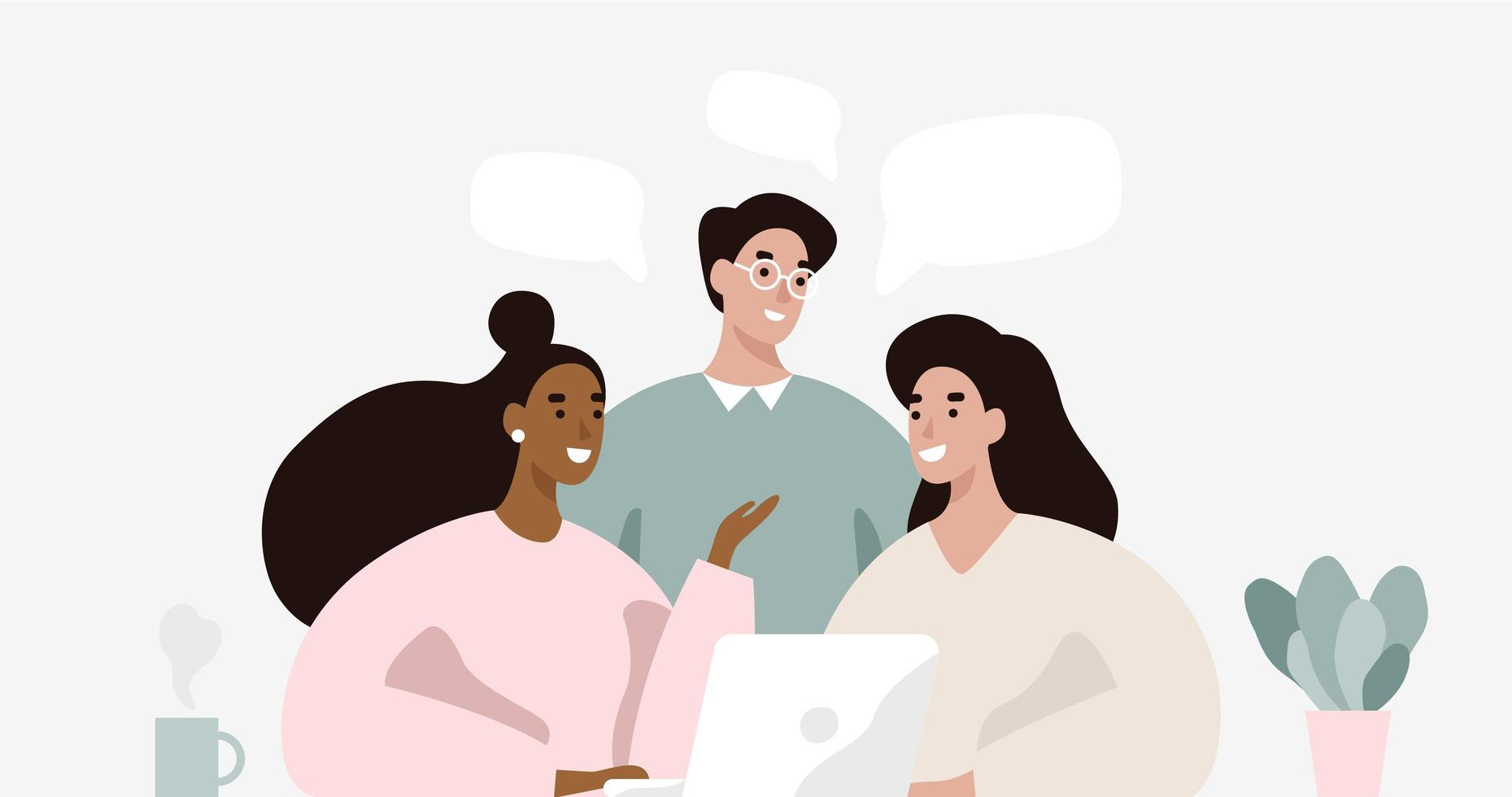 Grupp människor som pratar om nya lösningar vektor