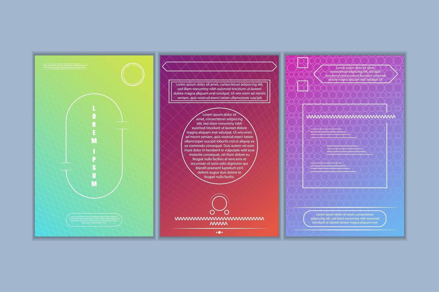 Kartenset mit geometrischen Formen und Farbverlauf vektor